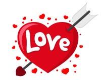 Kupidonets pil trängde igenom den älska hjärtan på ett vitt royaltyfri illustrationer