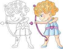 Kupidonpojke med pilbågen och pilen som siktar den Valentine Day vektorillustrationen Royaltyfri Fotografi