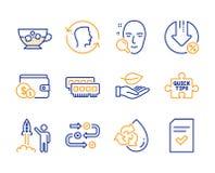 Kupienia akcesorium, Zimna kawa i wodowanie, projektujemy ikony ustawia? Baranu, twarzy id, znaki wektor royalty ilustracja