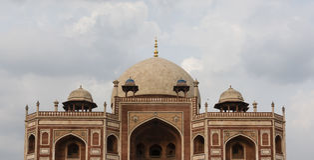 Kupol överst av den Humayun's gravvalvet i Delhi Arkivfoto