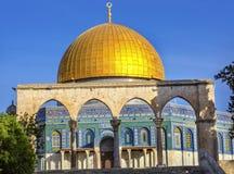 Kupol av för moskétempel för vagga den islamiska monteringen Jerusalem Israel Arkivbild