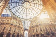 Kupol av gallerit Vittorio Emmanuele i Milan Fotografering för Bildbyråer