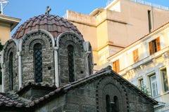 kupol av kyrkliga Panagia Kapnikarea i Atenstad Arkivbild