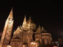 Kupol av Szeged på natten Arkivbilder