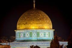 Kupol av vagga, Jerusalem, natt Royaltyfria Bilder