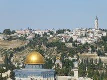 Kupol av vaggamoskén i Jerusalem arkivbild