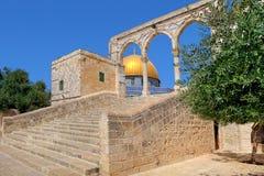 Kupol av vaggamoskén i Jerusalem, Israel. Arkivbilder