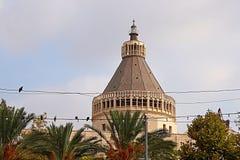 Kupolen av basilikan av förklaringen, kyrka av förklaringen i Nazareth Arkivbilder