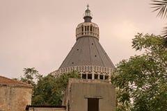 Kupolen av basilikan av förklaringen, kyrka av förklaringen i Nazareth Royaltyfria Foton