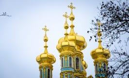 Kupolen av kyrkan av Catherine Palace Tsarskoye Selo Arkivfoton