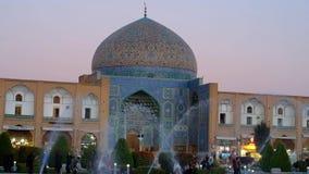 Kupolen av Sheikh Lotfollah Mosque i Isfahan lager videofilmer