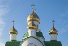 Kupoler av den ortodoxa templet Royaltyfri Bild