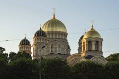 Kupoler av domkyrkan av Kristus, Riga Arkivfoton