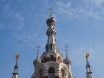Kupoler av domkyrkan för ` s för St Nokolay i Pavlovsk, Ryssland Arkivfoto