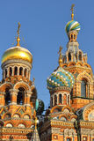 Kupoler av kyrkan av frälsaren på spillt blod Arkivbild