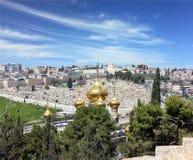 kupoler guld- jerusalem Arkivbilder