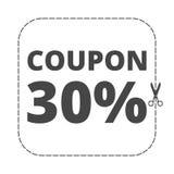 Kupondesign, Verkaufsikone 30% stock abbildung