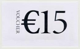 Kupong för 15 EUR Royaltyfri Fotografi