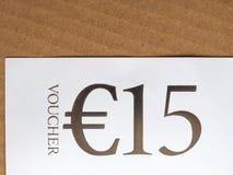 Kupong för 15 EUR Arkivbild