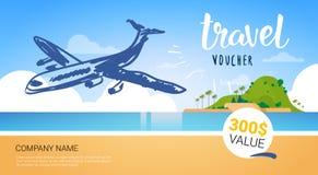 Kupong för loppföretagsmall med flygplanet som flyger över den härliga tropiska affischen för turist- byrå för strandbakgrund stock illustrationer