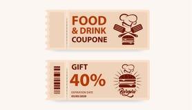 Kupong på mat och drinkar Biljettkort med gåvan vektor vektor illustrationer