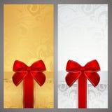 Kupong presentkort, kupong. Askar pilbåge Royaltyfri Fotografi