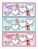 Kuponger för förälskelse för dag för valentin` s Fotografering för Bildbyråer