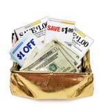 Kuponger och kontant in handväska för guld- mynt Arkivfoton