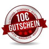 Kupongknapp för euro 10 - online-emblemmarknadsföringsbaner med bandet Tysk-översättning: 10 euro Gutschein Arkivfoto