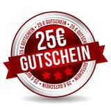 Kupongknapp för euro 25 - online-emblemmarknadsföringsbaner med bandet Tysk-översättning: 25 euro Gutschein royaltyfri illustrationer