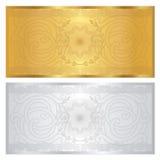 Försilvra/den guld- kupongmallen. Guilloche mönstrar Royaltyfri Fotografi