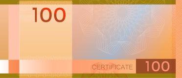 Kupongmallsedel 100 med den guillochemodellvattenstämplar och gränsen Orange bakgrundssedel, presentkort, kupong, arkivbilder