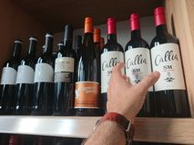 Kupować butelkę wino obrazy stock