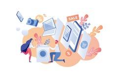 Kupować Domowych urządzenia na sprzedaży kreskówki wektorze ilustracji
