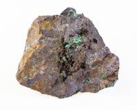 kupryt i malachit w surowym limonitu kamieniu obrazy stock