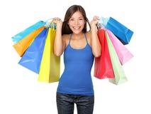 Kupującego kobiety mienia torba na zakupy Fotografia Stock