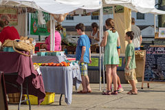 Kupujący przy sąsiedztwo rolników rynkiem Zdjęcie Royalty Free