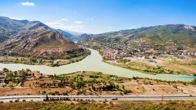 Kura and Aragvi. Rivers merge aerial view near Mtskheta, Georgia Stock Images