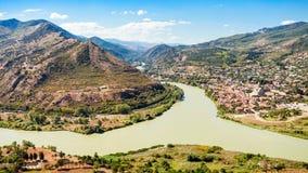 Kura and Aragvi. Rivers merge aerial view near Mtskheta, Georgia Royalty Free Stock Images