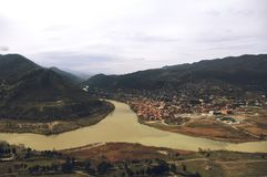 Kura and Aragvi rivers merge in Mtskheta, Georgia royalty free stock image
