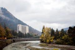Kura river with bridge in Borjomi, Georgia Stock Photo