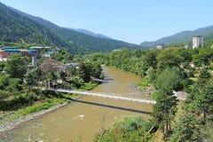Kura river and western suburb of Borjomi, Georgia Stock Image