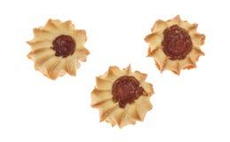 Kurabie三个曲奇饼用果酱 库存照片