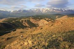 Kurai steppe and North Chuya ridge at dawn Royalty Free Stock Photo