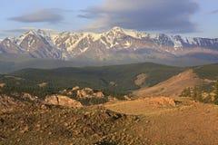 Kurai steppe and North Chuya ridge at dawn Royalty Free Stock Images