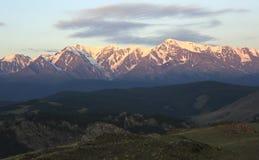 Kurai steppe and North Chuya ridge at dawn Stock Images