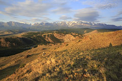 Kurai steppe and North Chuya ridge at dawn Stock Images