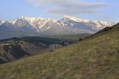 Kurai steppe and North Chuya ridge at dawn Royalty Free Stock Image