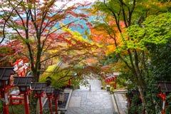 Kurama relikskrin, Kyoto royaltyfria foton