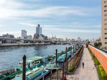 Kuramae ställe av att koppla av nära Asakusa royaltyfria bilder
